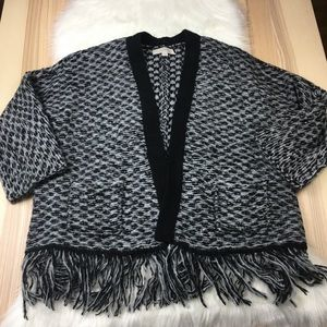 LOFT Italian Yarn Black & Gray Fringe Cardigan Med